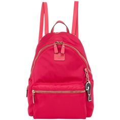 Guess Cool School Leeza Backpack (560 NOK) ❤ liked on Polyvore featuring bags, backpacks, hot pink, pink backpack, vegan leather bags, pink faux leather backpack, vegan leather backpack and guess backpack