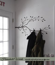 Tree Branch Decor Vinyl Wall Decal, Diy Coat Rack Decal, Nature Decals For…