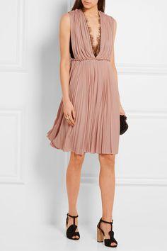 Gucci   Lace-paneled pleated crepe dress   NET-A-PORTER.COM