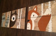 Rustic woodlands nursery decor: owl fox racoon by AllThingsFor