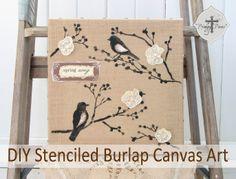 Michaels & Hometalk Pinterest Party: DIY Stenciled Burlap Canvas Art Tutorial #mpinterestparty