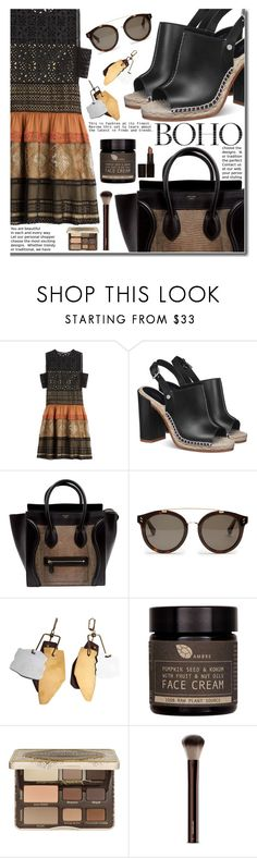"""""""084"""" by earendil-xx ❤ liked on Polyvore featuring Alberta Ferretti, CÉLINE, STELLA McCARTNEY, AMBRE, Too Faced Cosmetics, Hourglass Cosmetics, Laura Mercier, dress and boho"""