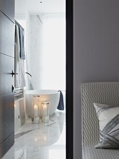 silver and glass lanterns for the ensuite - ©Taylor Howes Designs