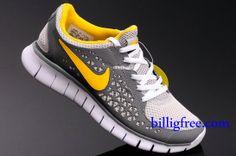 best website 81773 a961e Billig Schuhe Damen Nike Free Run + (Farbe Vamp-Grau,weiB,innen,Logo-gelb Sohle-weiB)  Online in Deutschland.