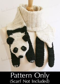 Digital PDF Crochet Pattern for Panda Bear Scarf - DIY Fashion Tutorial - Instant Download