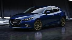 Beautiful crystal blue 2014 Mazda 3...my next car hopefully