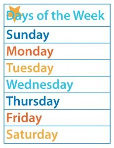 Days of the Week – F