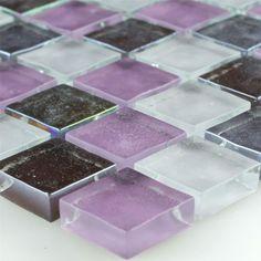 Glas Mosaikplattor Lila Vit Mix 23x23x8mm   1 Ark
