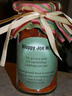 Recipes Straight from the Kowboys Home: Sloppy Joe Seasoning Mix (Gift Jars) Homemade Dry Mixes, Homemade Spices, Homemade Seasonings, Homemade Gifts, Jar Gifts, Food Gifts, Gift Jars, Spice Blends, Spice Mixes