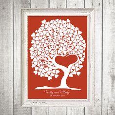 tree of love fingerprint guest book by idoityourself on Etsy