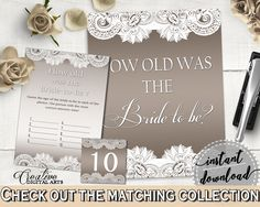 How Old Was The Bride To Be in Traditional Lace Bridal Shower Brown And Silver Theme, fiancée age, bridal filigree, party plan - Z2DRE #bridalshower #bride-to-be #bridetobe