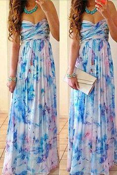 Print sexy strapless chiffon maxi dress – WOMENPOP