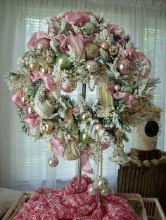 Pretty Pink Holiday Wreath!!! Bebe'!!! Love the assorted Christmas Ornaments and Decorations!!!