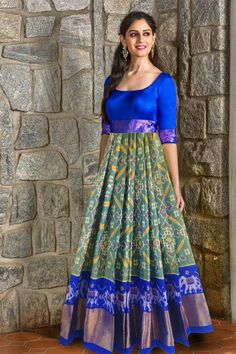 lovely colors and pattern. Love the full skirt! Indian Long Frocks, Indian Gowns, Indian Attire, Indian Ethnic Wear, Indian Outfits, Saree Gown, Sari Dress, Anarkali Dress, Anarkali Suits