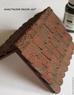 Черепица из листовой пробки + рецепт массы папье-маше из салфеток и ПВА