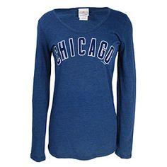 Chicago Cubs Ladies Wordmark Tri-Blend Long Sleeve T-Shirt