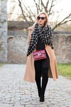 Test of Time: Max Mara camel coat, black and white plaid blanket scarf, Stuart Weitzman 'Highland' over the knee boots, Saint Laurent red handbag, camel, black and red outfit, classic camel coat outfit