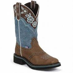 Justin Women's Dusty Blue Embroidered Gypsy Western Boots L9950