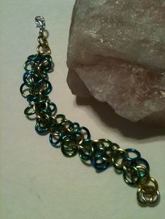 Shaggy Maille Bracelet Light Green, Silver and Turquoise Renaissance Medieval Bracelet on Etsy at ForChainMailleOnly by ForChainMailleOnly on Etsy