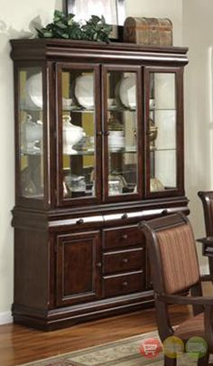 The Crown Mark Merlot Traditional China Cabinet Buffet & Hutch is functional yet attractive, and will make an excellent addition to your formal dining room. Description from shopfactorydirect.com. I searched for this on bing.com/images