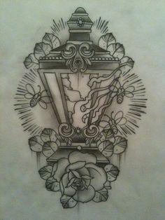 lantern and firefly tattoo flash