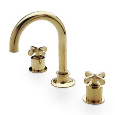 Henry Gooseneck Three Hole Deck Mounted Lavatory Faucet with Metal Cross Handles — Products | Waterworks