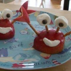 Crab apple snack for kids. Get it? Crab apple? Har, har.    #foodfun #kids #ocean