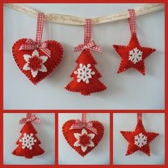 Christmas Trees For Kids, Fabric Christmas Ornaments, Christmas Crafts To Sell, Homemade Christmas Decorations, Homemade Christmas Gifts, Felt Ornaments, Handmade Christmas, Christmas Diy, Felt Crafts