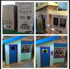 Cardboard playhouse--Found 2 refrigerator boxes in the alley, and made this cute playhouse with them. Cardboard Box Houses, Cardboard Playhouse, Cardboard Tubes, Cardboard Crafts, Cardboard Fireplace, Shop Work Bench, Fireplace Furniture, Play Shop, Toddler Learning Activities