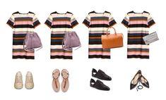 Striped Dress Styled 4 Ways .#capsule #wardrobe #styling