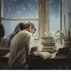 Reading in the Rain Illustration Reading Art, Woman Reading, Girl Reading Book, Reading Books, Reading Time, Art And Illustration, Anime Art Girl, I Love Books, Book Lovers