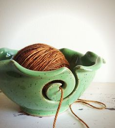 Yarn+Bowl+knitting+bowl+green+Lime+green+Grass+by+redhotpottery,+$36.00