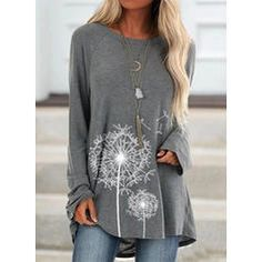 Buy Women's Fashion Autumn and Winter Clothes Casual O-neck Long Sleeve Tops Ladies Loose Tunic T-shirts Cotton Floral Printed Blouses Plus Size Pullover Sweatshirts at Wish - Shopping Made Fun Long Sleeve Tunic, Long Sleeve Shirts, Loose Shirts, Shirt Bluse, T Shirt, Casual, Fashion Mode, Types Of Sleeves, Blouses For Women