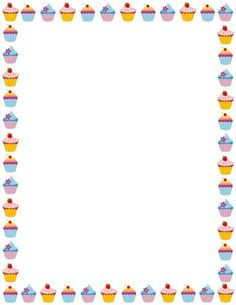Free cupcake border templates including printable border paper and clip art versions. File formats include GIF, JPG, PDF, and PNG. Page Boarders, Boarders And Frames, Page Borders Design, Border Design, Page Borders Free, Free Printable Stationery, Printable Labels, Printables, Printable Border