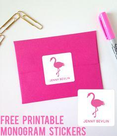 Free Flamingo Printable Monogram Stickers from printablemonogram.com #freeprintable