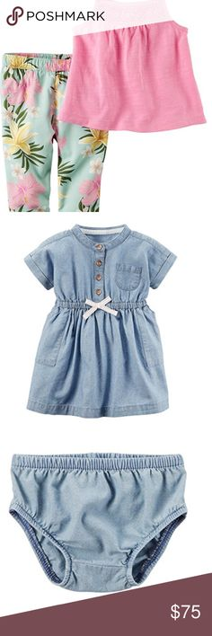 Baby Girl Bundle NWT Size 3 Months Baby Girl Bundle. Size 3 months. Includes 5 items brand new with tags.   (1) Floral Jumpsuit (1)Striped Shirt (1) Pink and Floral Pant Set (1) Chambray Dress Shirt and Bottoms (1) Flutter Sleeve Top and Denim Pant Set Carter's Matching Sets