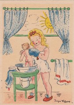 AK Kinder Inge Schott Mädchen wäscht Puppe.