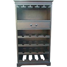 Store your wine collection in style with this birch wood veneer wine rack. With one drawer and the ability to store up to 16 bottles, this wine cabinet will make a useful and beautiful way to store your collection.