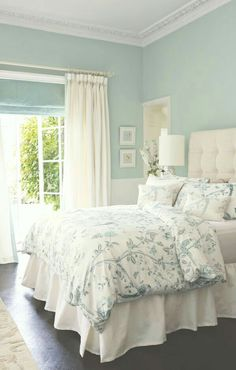 Ideas for the bedroom decor – romantic transitional style. Tufted headboard, white wallcovering in light green wall color Laura Ashley bedding. Beautiful Bedrooms, Interior, Home Decor Bedroom, Blue Bedroom Colors, Home Bedroom, Home Decor, Bedroom Inspirations, Bedroom Colors, Couple Bedroom