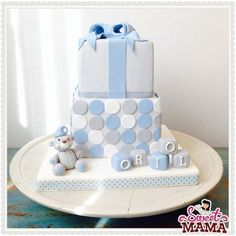 Christening cake for a baby boy #christening #cake #babyshower www.sweetmama.es