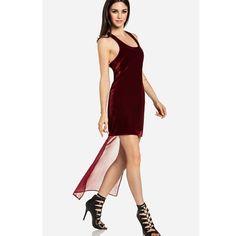 Dailylook Line Dot Velvet Sheer Tail Dress In Burgundy Holiday Party