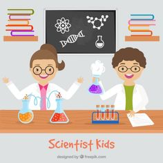 hijos científico en el laboratorio de diseño plano Vector Gratis