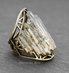 GOLD DIPPED CRYSTAL Cage Ring - Eleven Raw White Gemstone Crystal Points Distressed Vintage Gold Open Metalwork 7.75