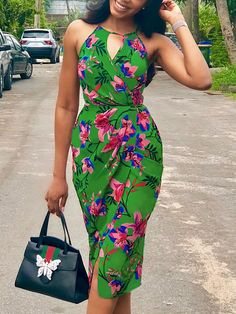 Shop Casual Dresses Floral Print Cut Out Halter Ruched Wrap Dress Ankara Styles For Women, Ankara Short Gown Styles, Short African Dresses, African Print Dresses, African Fashion Ankara, Latest African Fashion Dresses, African Print Fashion, Africa Fashion, Modern African Fashion