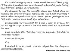 """"""" Eva's email to Gideon…this email made me cry, Eva was so devastated :'( But I loved what happened after…they fucked each other half to death lol """"Reflected in you"""" by Sylvia Day (Crossfire..."""