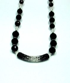 Jet Black and Crystal Clear Statement by AussenWolfDesigns on Etsy, $60.00