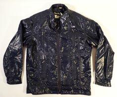 Funky Hipster Vintage Henry Ours PARIS Shiny Navy Blue Jacket, Rexotherm, France