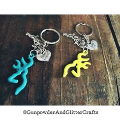 Teal and Neon Deer Head Best Friend Keychains by AdelynElaines
