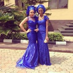 Nigerian wedding flow inspiration for brides and bridesmaids in blue traditional dresses and gele. Jude Okoye's traditional wedding in Anambra state. African Dresses For Women, African Attire, African Women, African Outfits, Nigerian Outfits, Nigerian Bride, Navy Blue Bridesmaid Dresses, Bridesmaids, Africa Dress