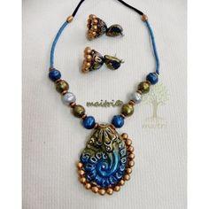 Terracotta Jewellery -  Blue DesignerTerracotta  https://www.facebook.com/maitricrafts.maitri https://www.facebook.com/maitri.crafts maitri_crafts@yahoo.com